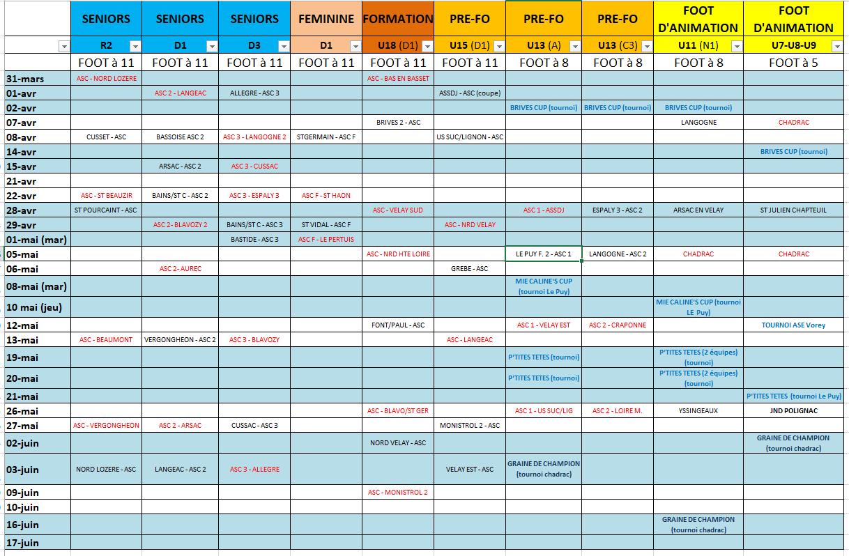 calendrier asc
